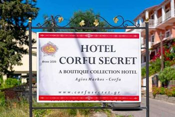Now you are in front of the famous hotel Corfu Secret